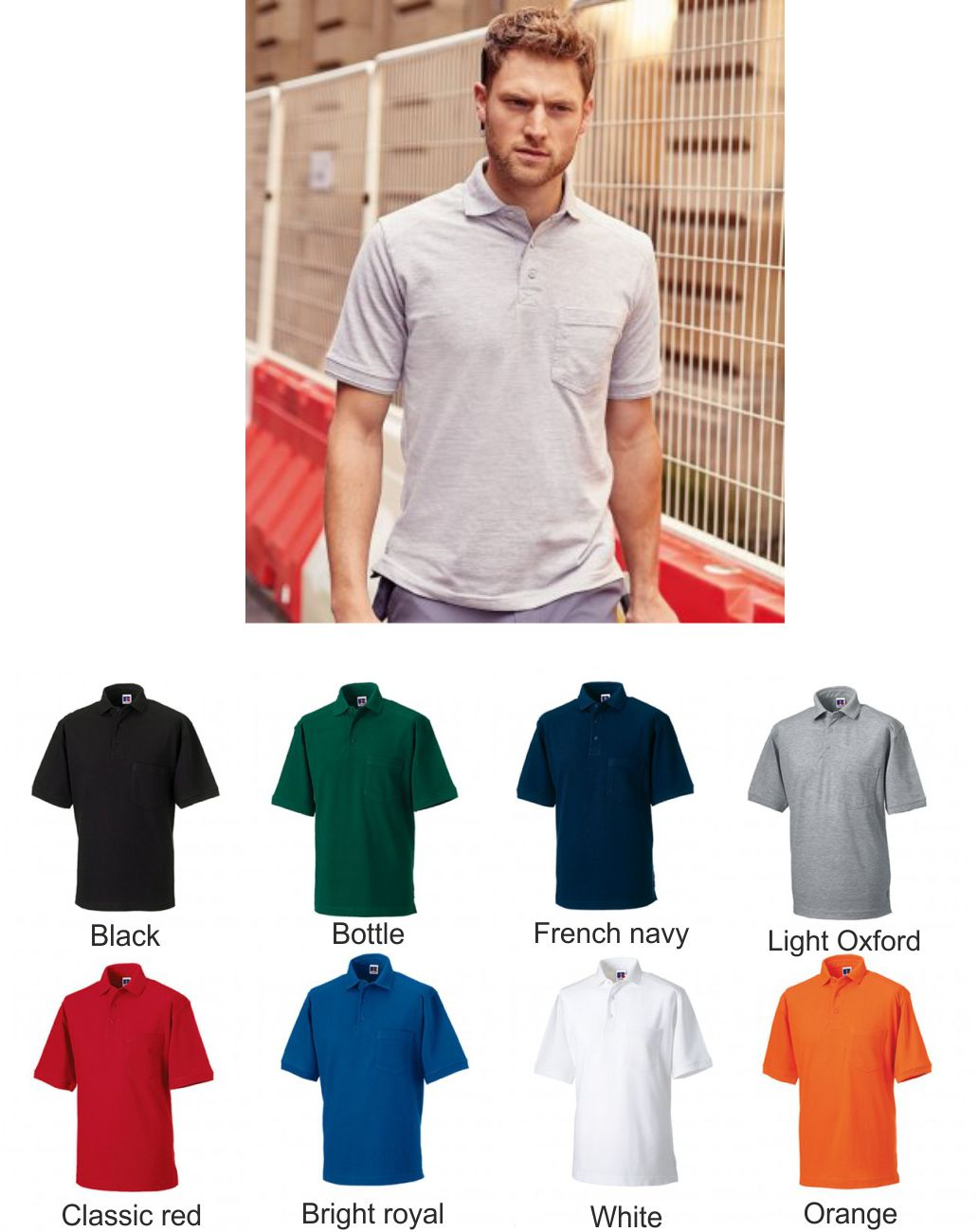 Russell 011M Heavy Duty Pique Pocket Polo