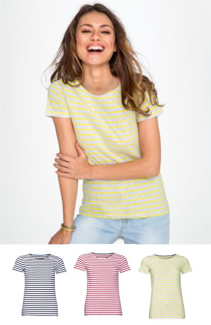 Sol's 01399 Ladies Miles Stripe Tee Shirt