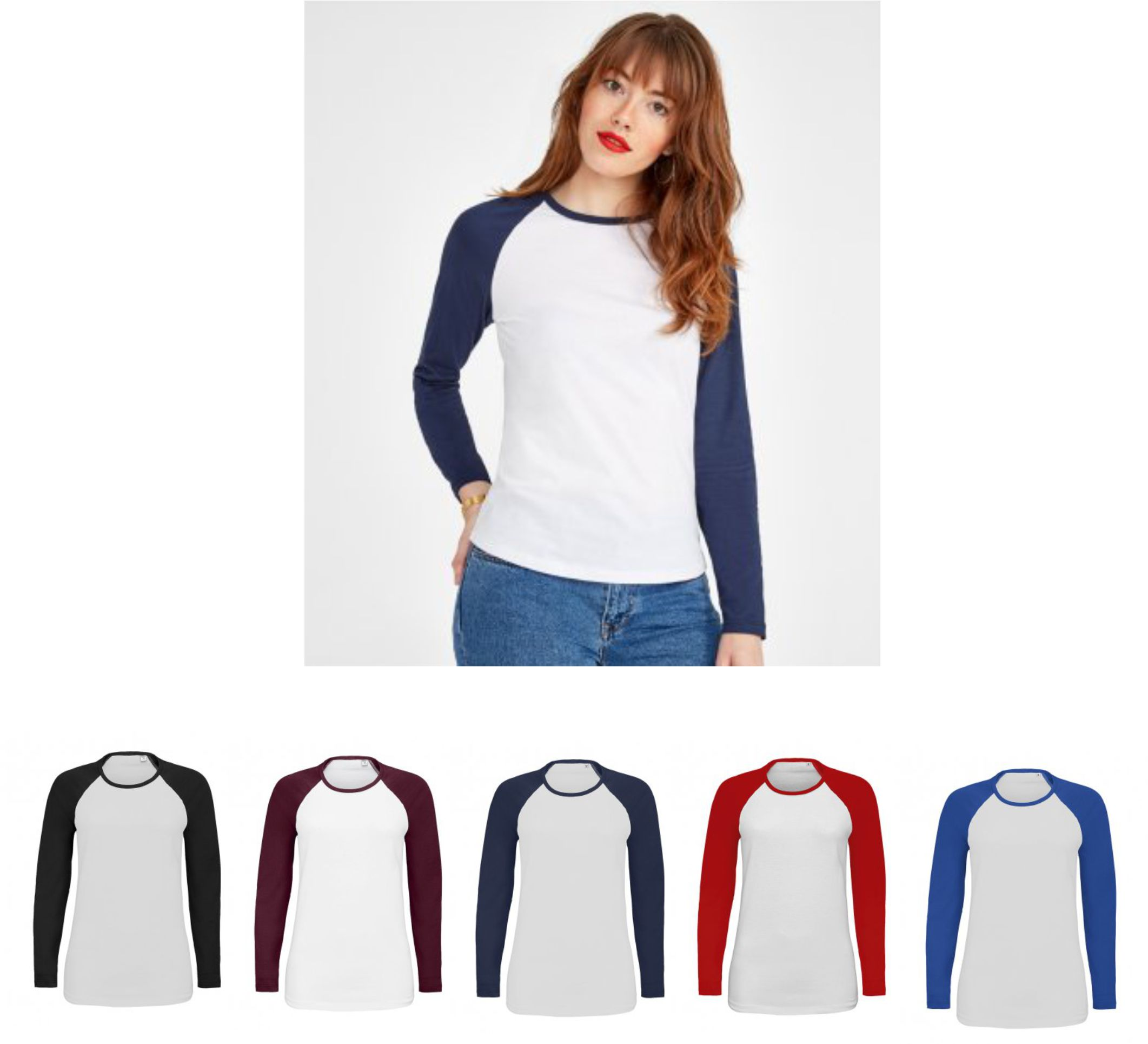 Sol's 02943 Ladies Milky Contrast Long Sleeve T-Shirt