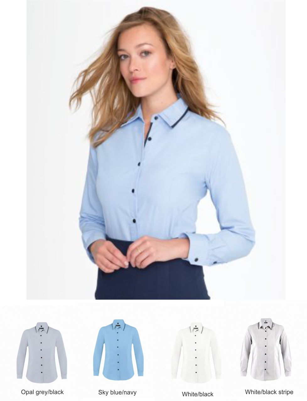 Sol's 10569 Ladies Baxter Long Sleeve Contrast Fitted Shirt