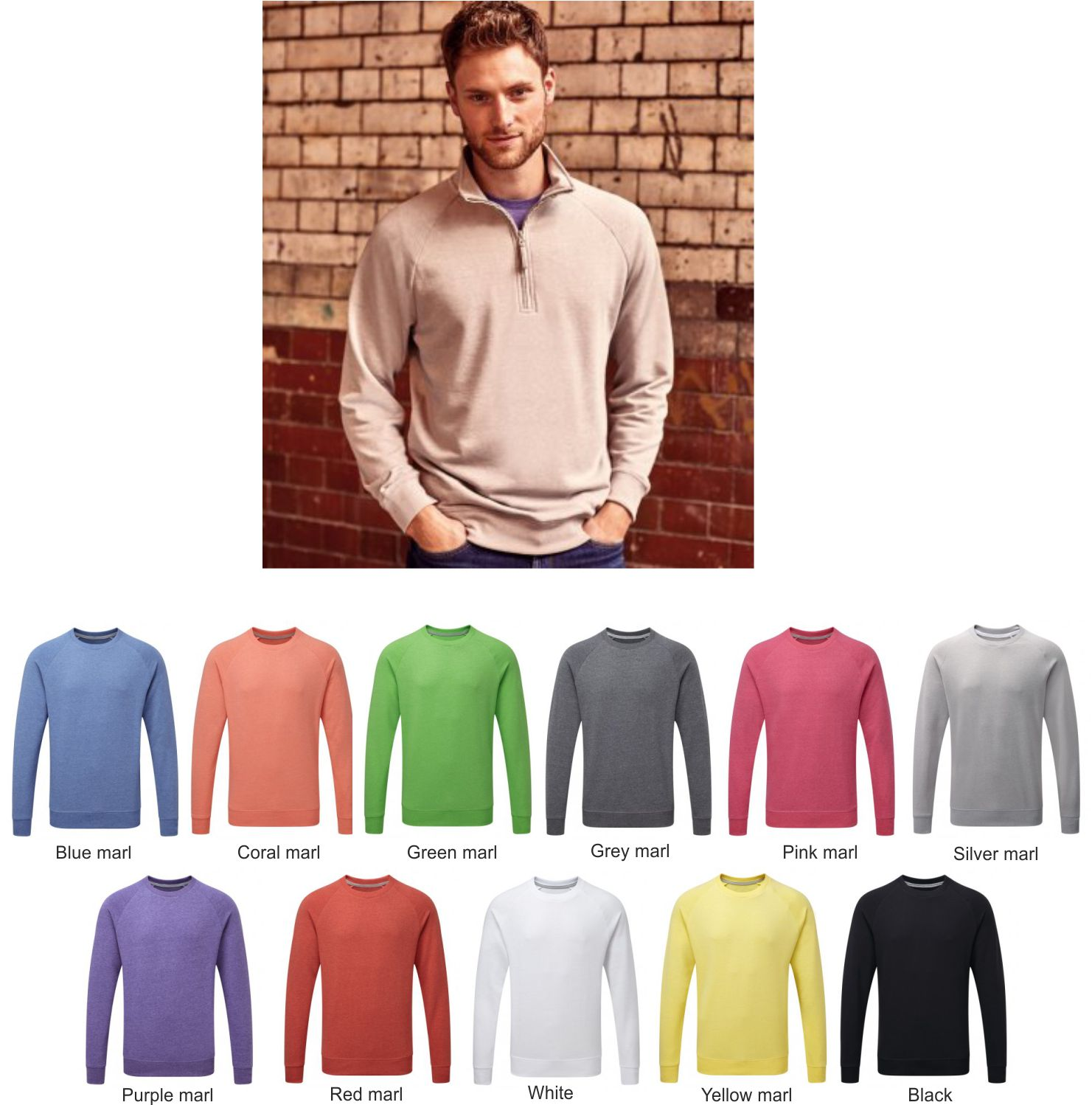 Russell 282M HD Zip Neck Sweatshirts