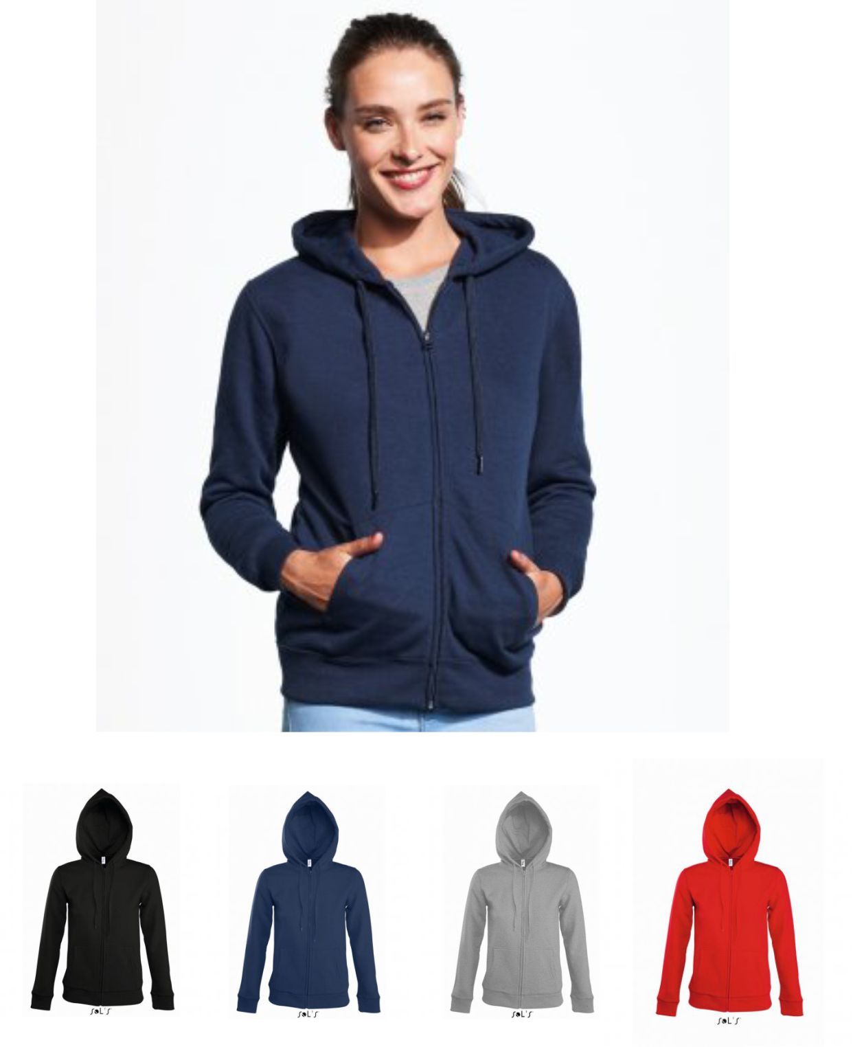 Sol's 47900 Ladies Seven Zip Hooded Sweatshirt