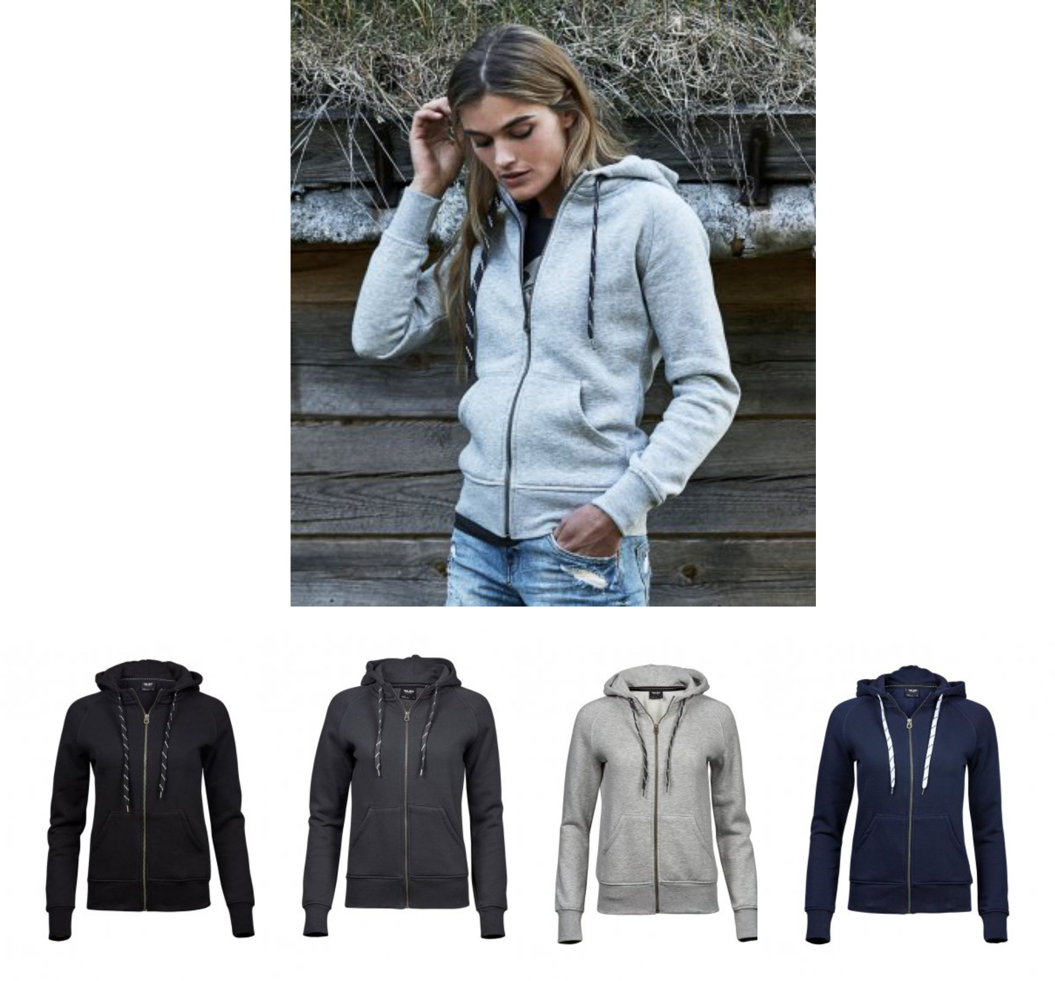 Tee Jays T5436 Ladies Fashion Zip Hooded Sweatshirt