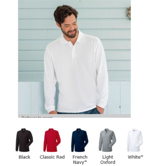 Russells 569L long sleeve polo