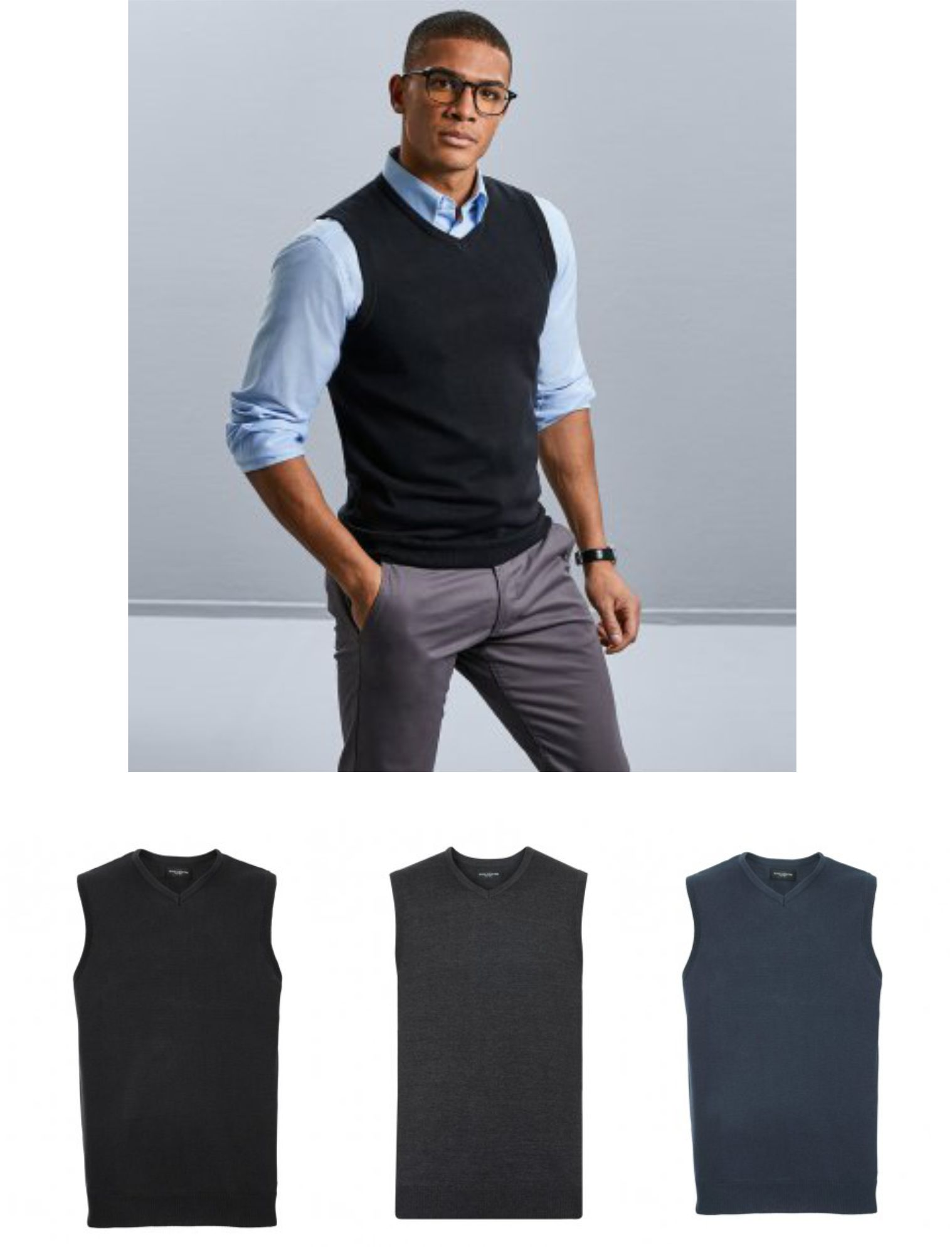 Russells 716M Sleeveless V Neck Sweater