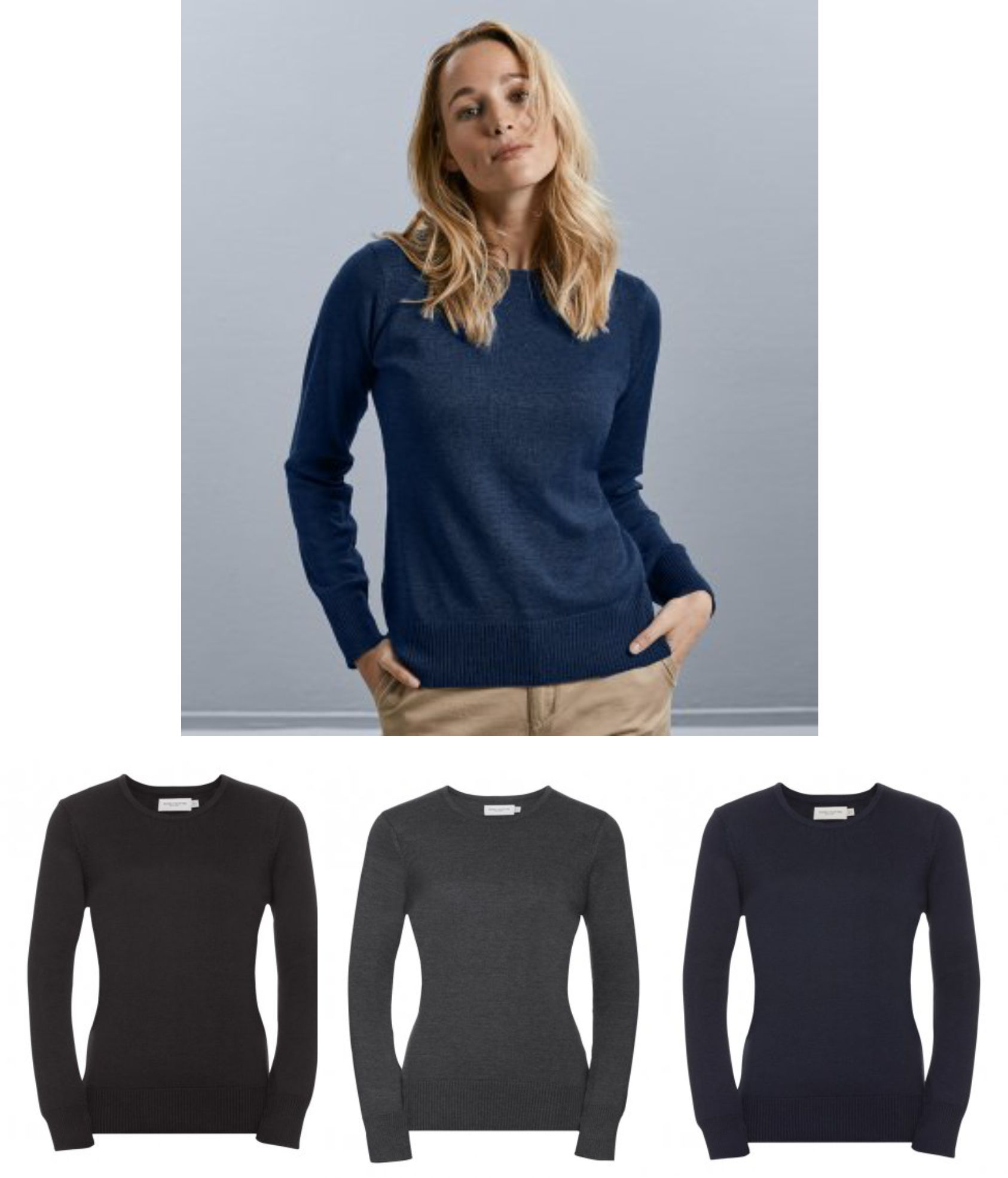 717F Russell Ladies Cotton Acrylic Crew Neck Sweater