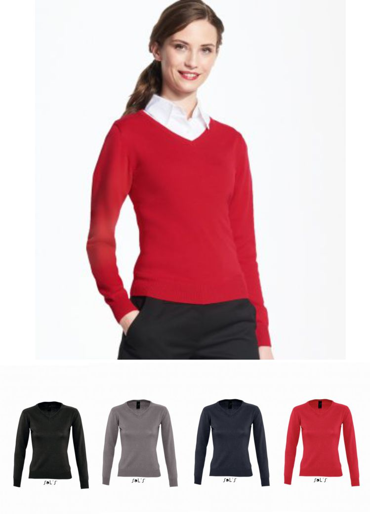Sol's 90010 Ladies Galaxy Cotton Acrylic V Neck Sweater