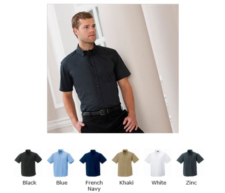 Russell Collection 917M Mens Short Sleeve Twill Casual Shirt