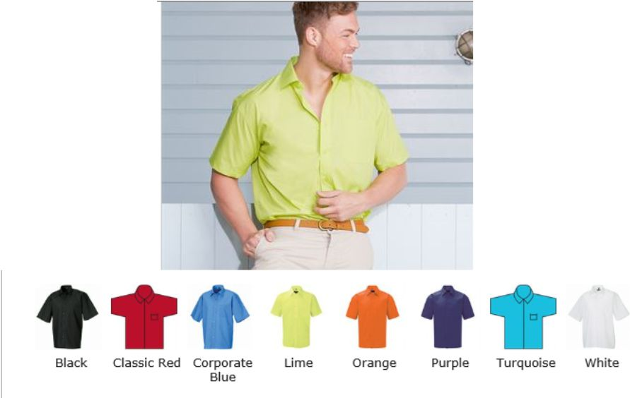 Russell Collection 935M Short Sleeve Easy Care Poplin Shirt