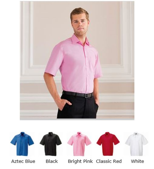 Russell Collection 937M Short Sleeve 100% easy care Poplin Shirt