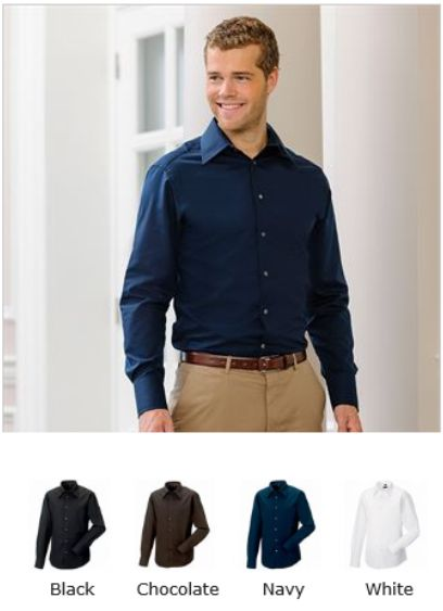 Russell Collection 954M Long sleeve fitted Tencel Shirt