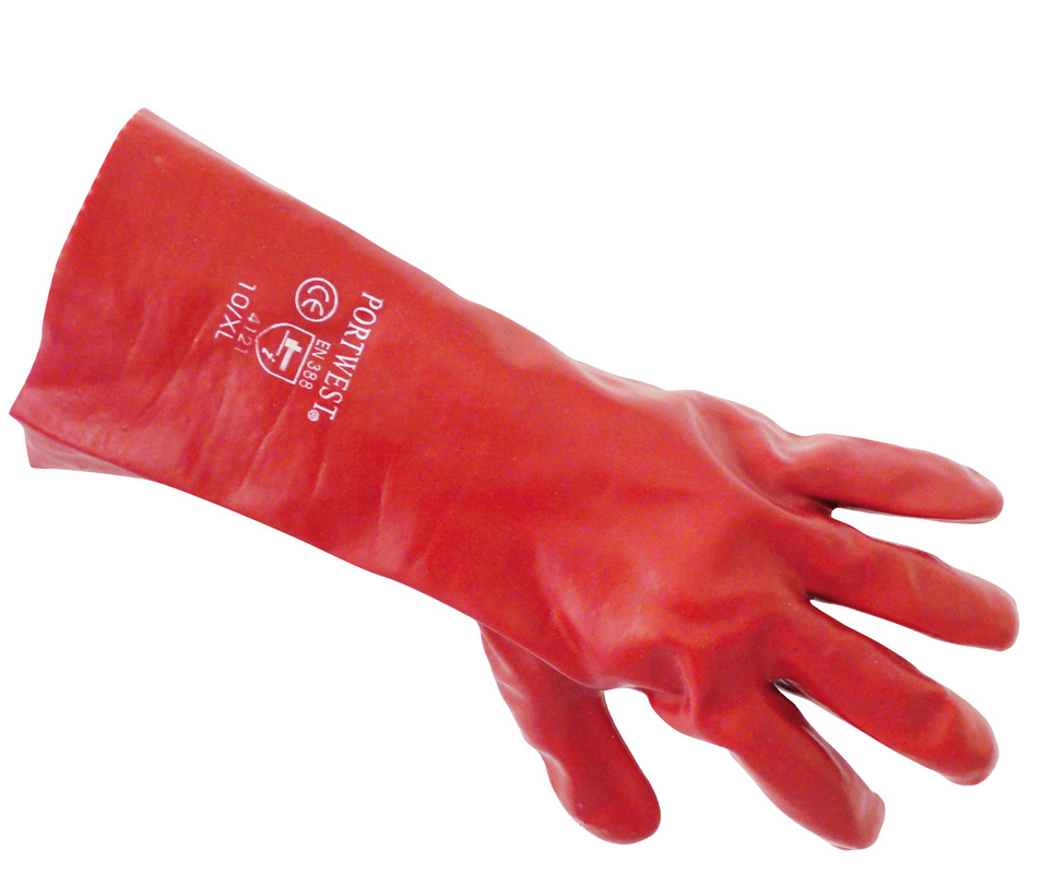 A435 Red PVC Gauntlett 35cm