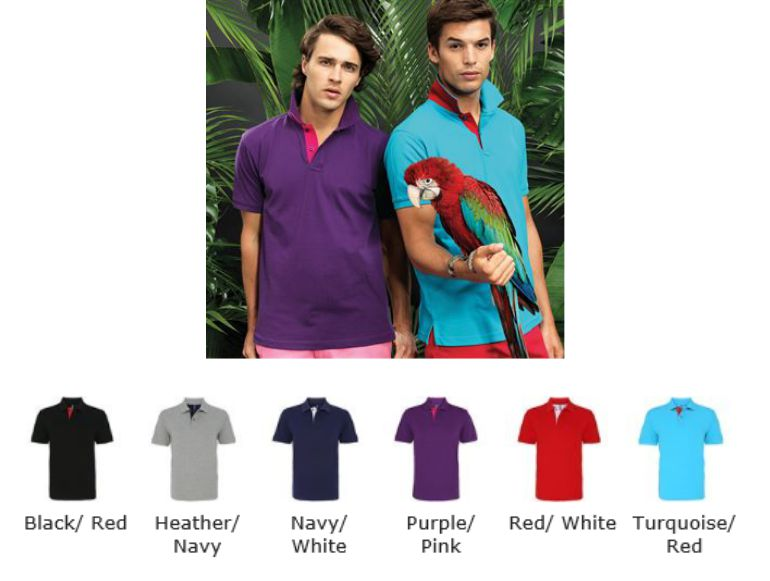 Asquith & Fox AQ012 Men's Classic Fit Contrast Polo