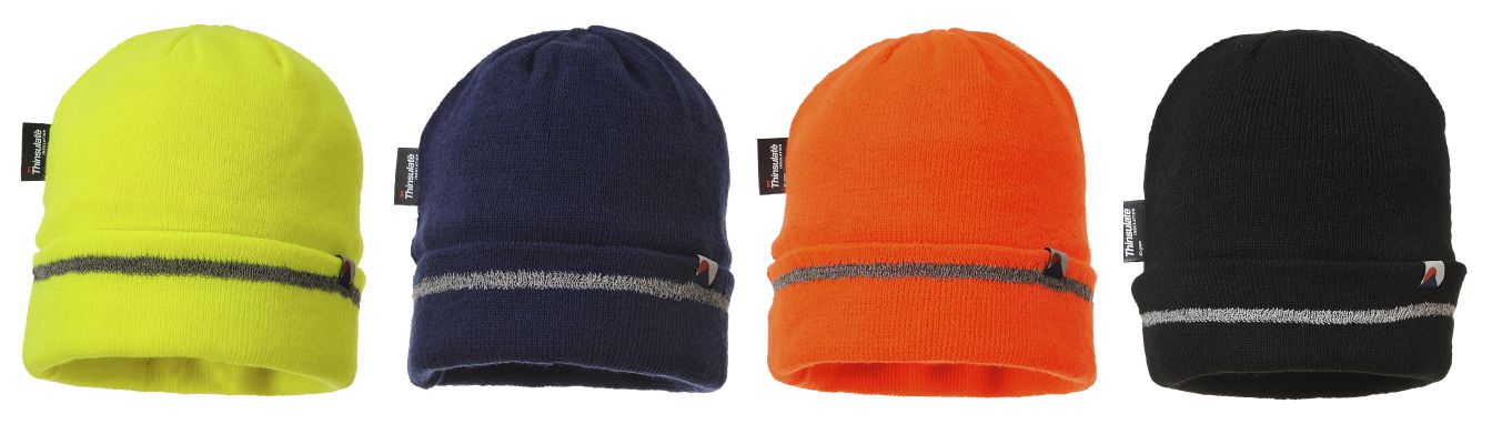 B023 Reflective Trim Knit Hat Thinsulate Lined