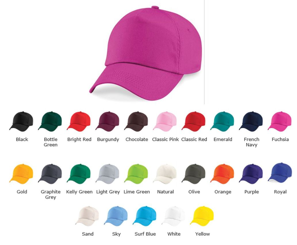 Beechfield B10 5 panel unlined cotton baseball Cap