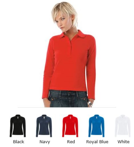 B&C BA370L Ladies Saffran long Sleeve, Polo