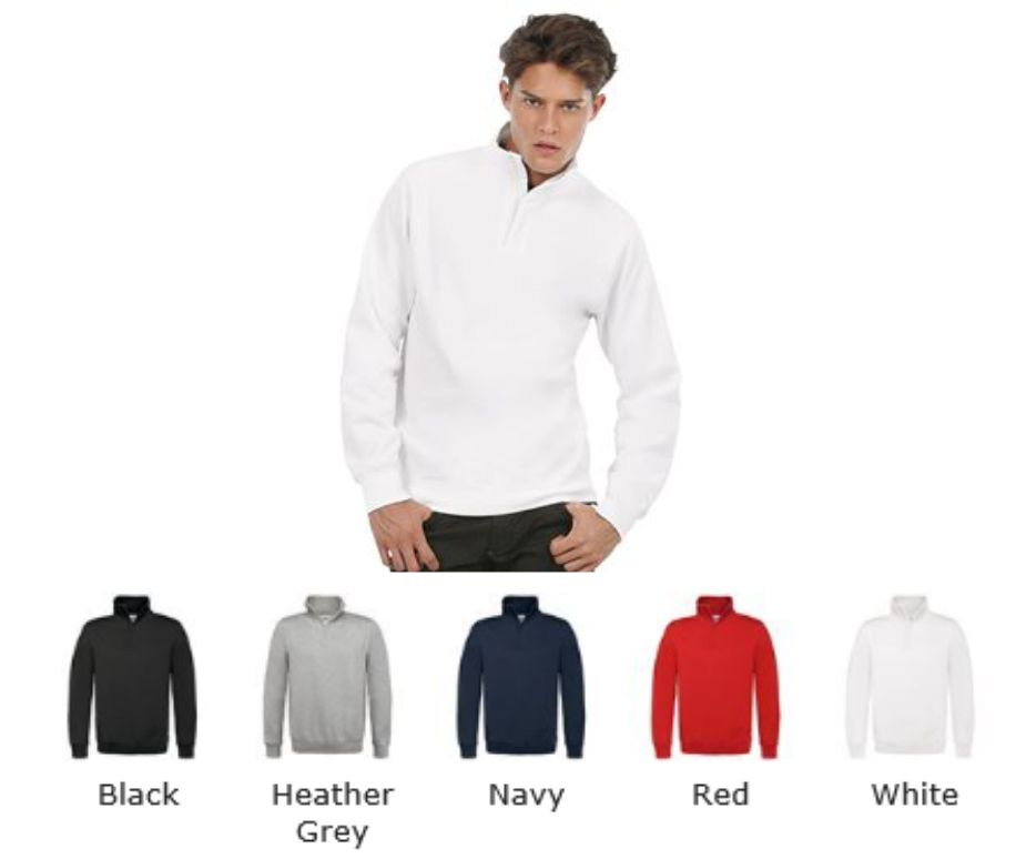 B&C BA406 ID004 Zip Neck Sweatshirt