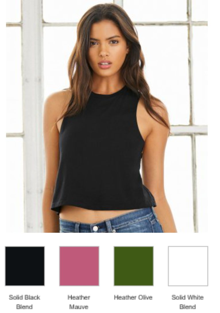 BL6682 Bella Ladies Racer Back Cropped Tank Top