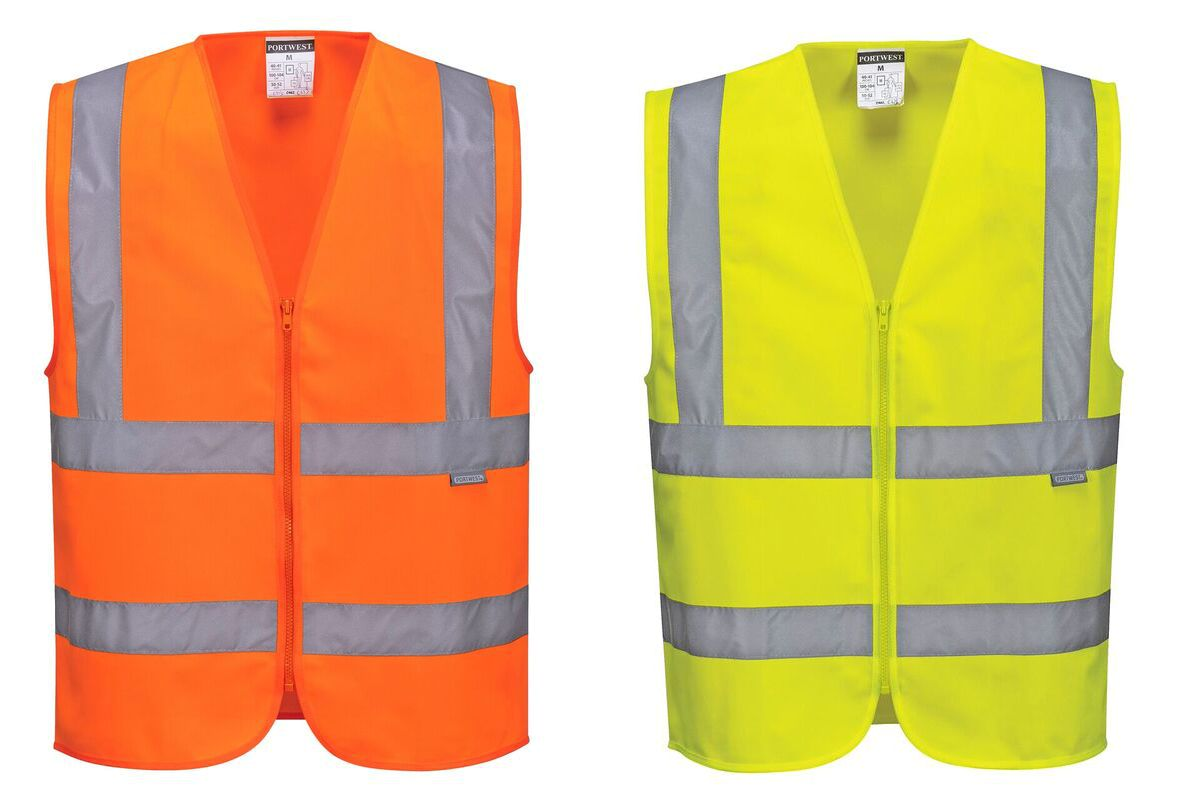 C375 Hi Vis Zipped Band & Brace Vest
