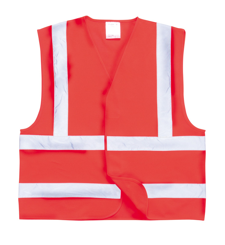 C470 Red Hi Vis Two Band Vest