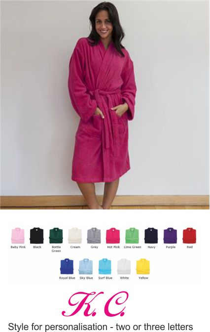 CC020 Comfy Co Bathrobe with Personalised Monogram