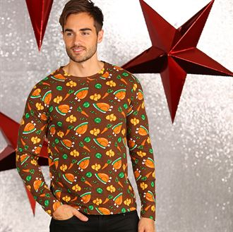 CS002 Long Sleeved Tee with Christmas Dinner Print