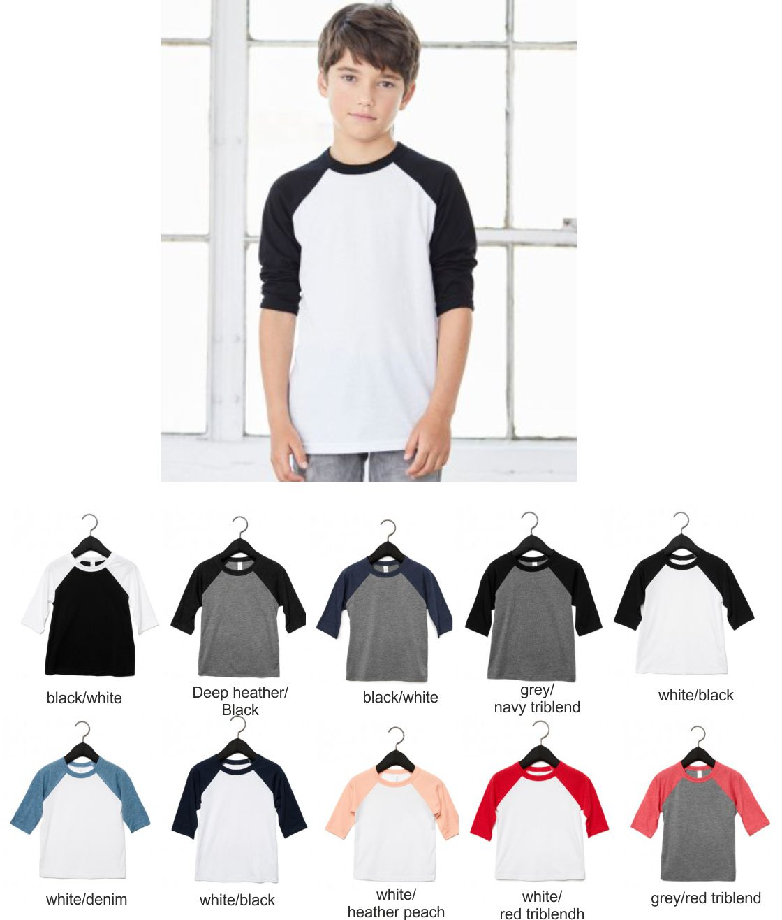 CV3200Y Canvas Youths 3/4 sleeve Baseball T-Shirt