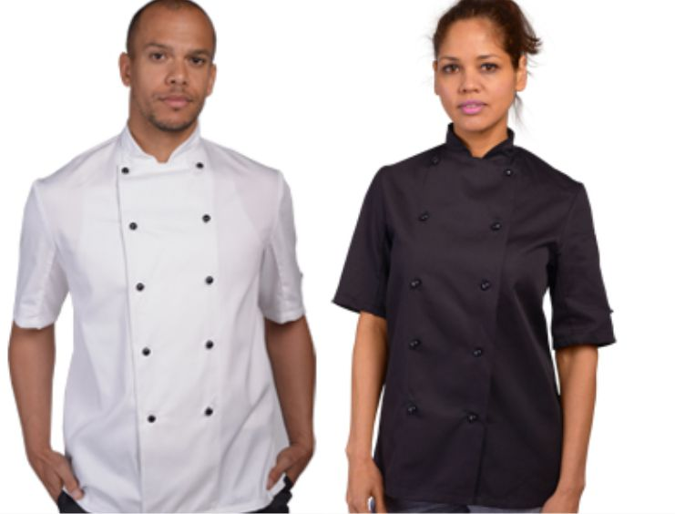 DD20AFDE chefs jacket with removable studs
