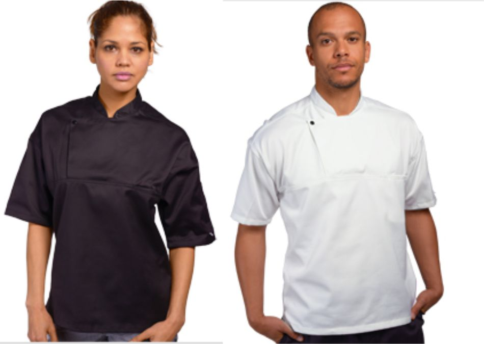 DD43AFD short sleeve chefs tunic with press studs