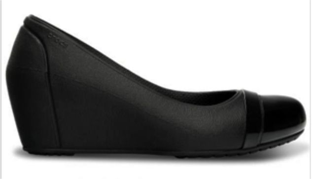 Crocs DK99B black, flat wedge women's shoes