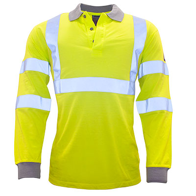 FR77 Flame Resistant Anti Static Hi-Vis Long Sleeve polo