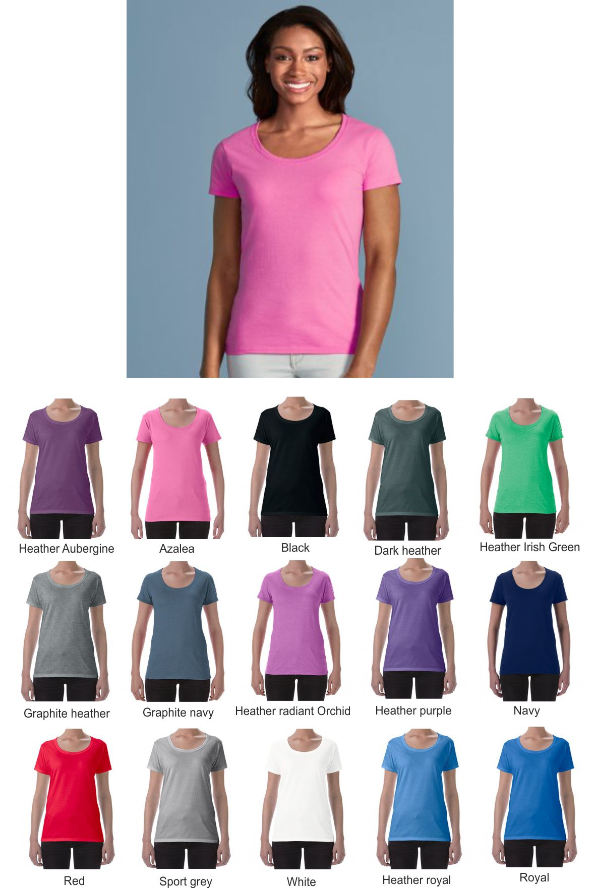 Gildan GD70 Ladies Soft Style Deep Scoop Tee Shirt