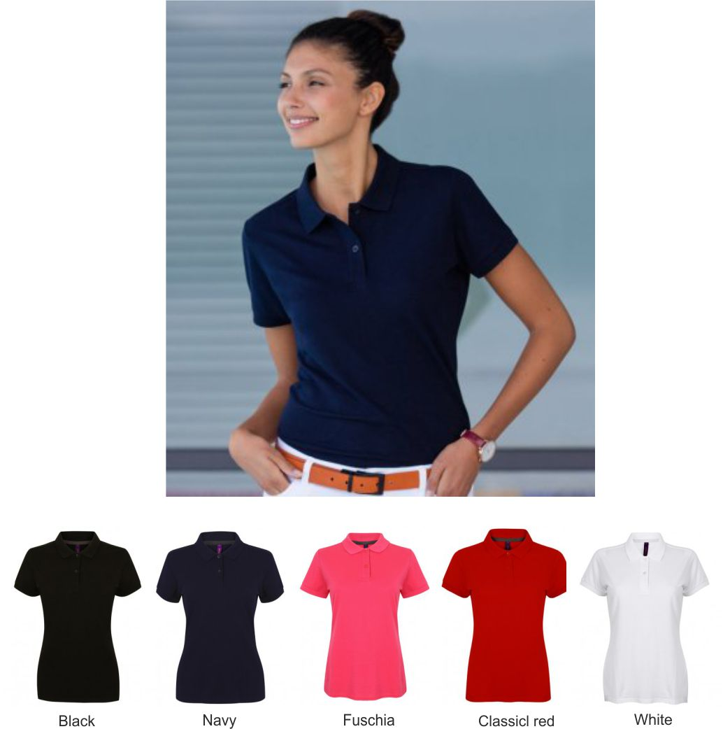 Henbury H102 Ladies Modern Fit Cotton Pique Polo Shirt