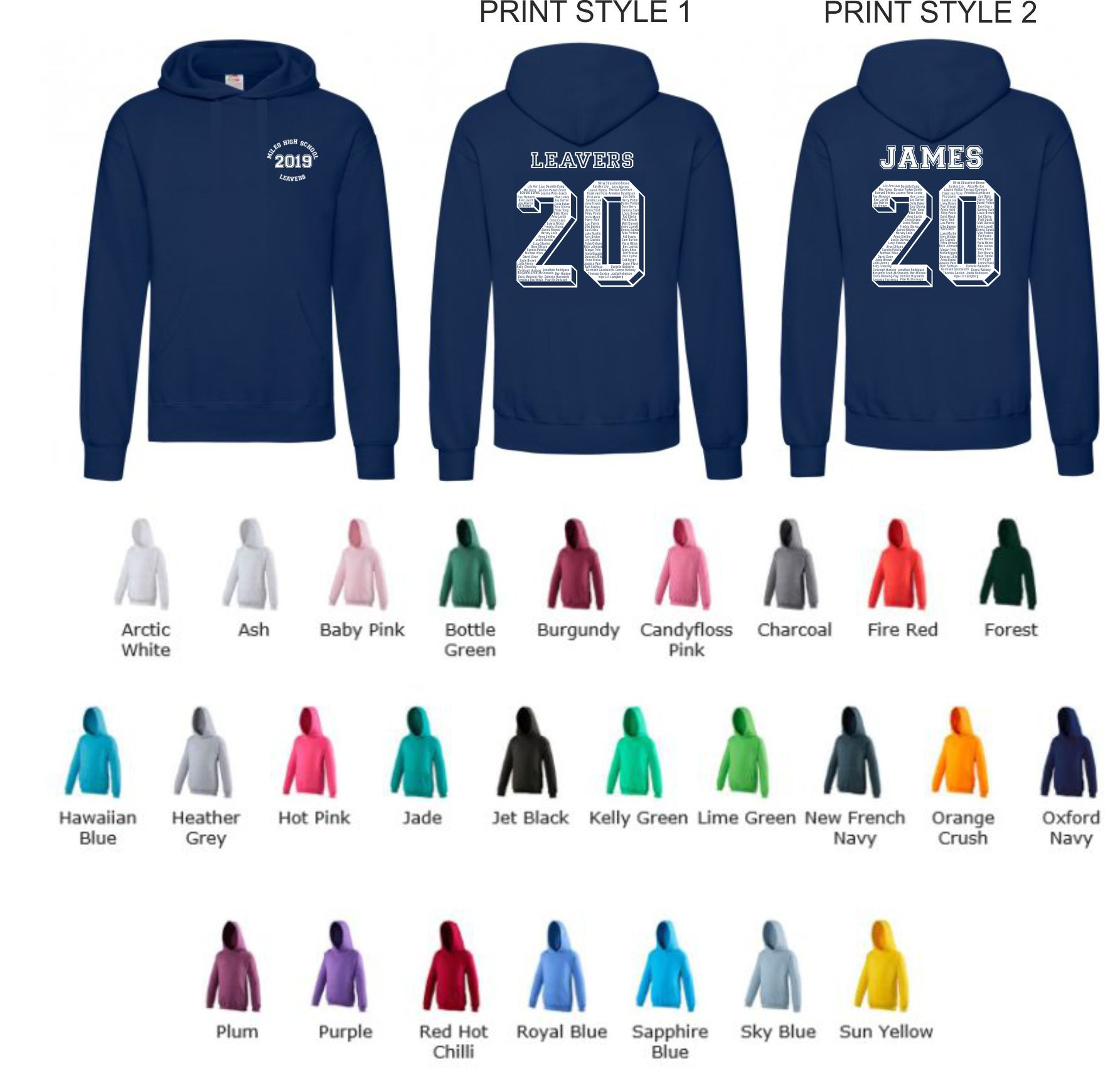 School Leavers AWD JH001b Junior slipover Hoody