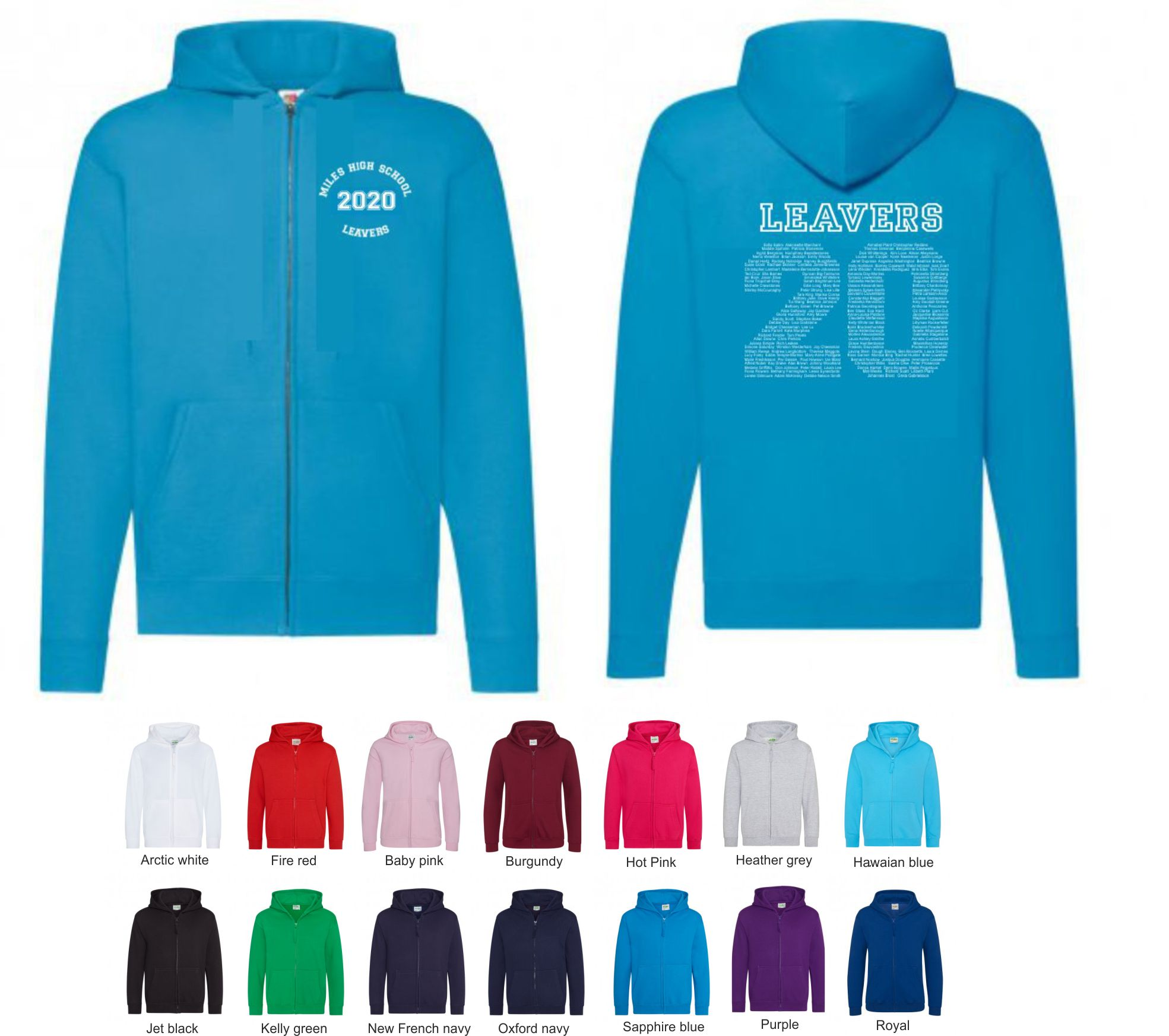 School Leavers JH050b Junior Zip Hoody Style 3