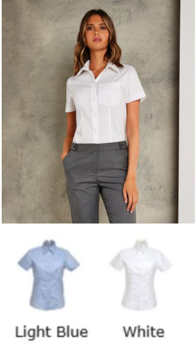 KK719 Premium Pocket short sleeve Oxford blouse