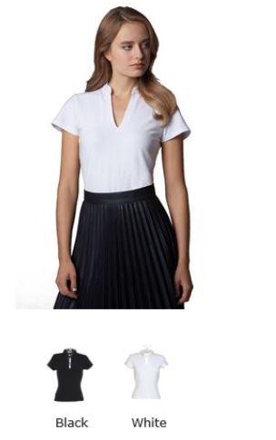 KK770 Kustom Kit Vee Neck Mandarin Collar Short Sleeve Corporate