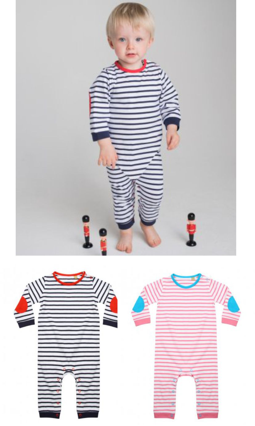 LW57T Larkwood Baby Long Sleeved Striped Bodysuit