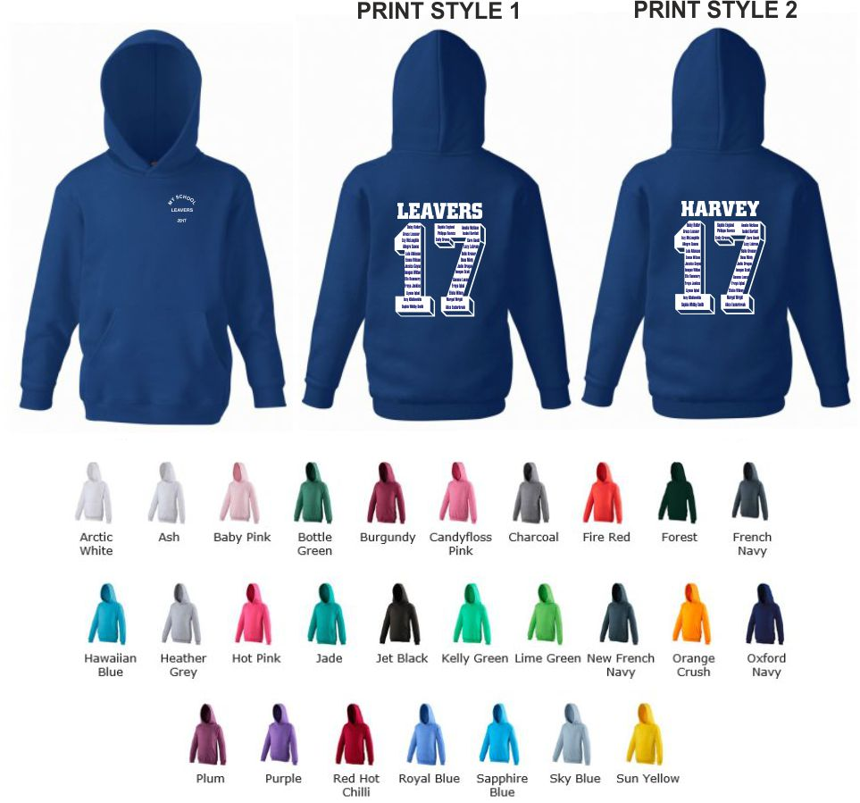 School Leavers AWD JH001 Senior Slipover Hoody