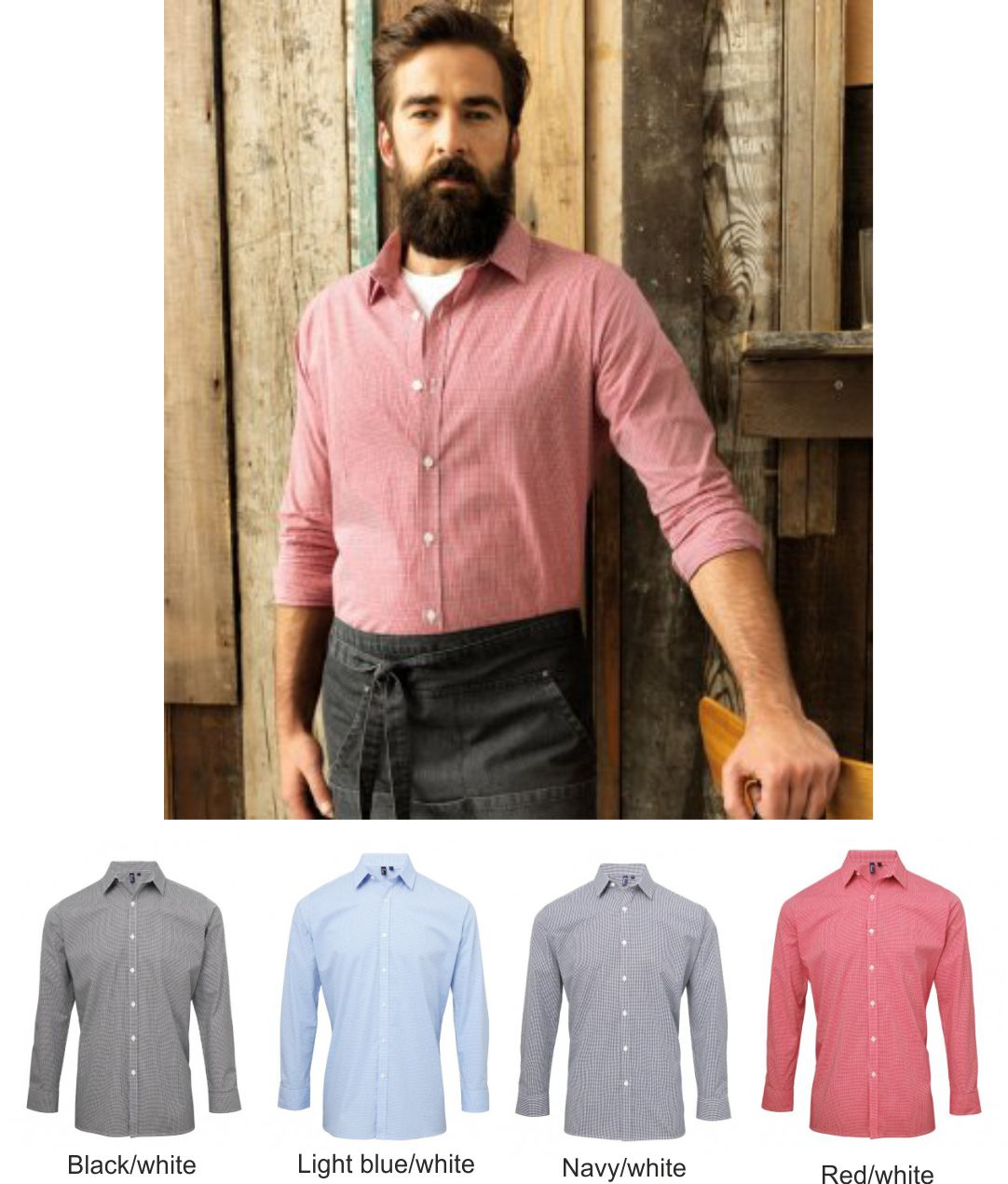 Premier PR220 Long Sleeve Microcheck Shirt