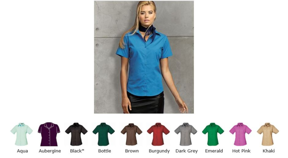 Premier PR302 Workwear Poplin Short Sleeve Blouse
