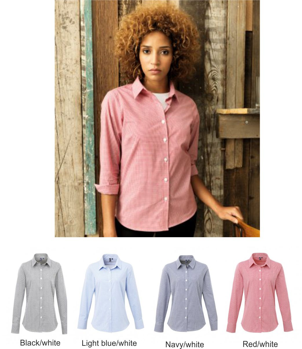 Premier PR320 Ladies Microcheck Long Sleeve Shirt