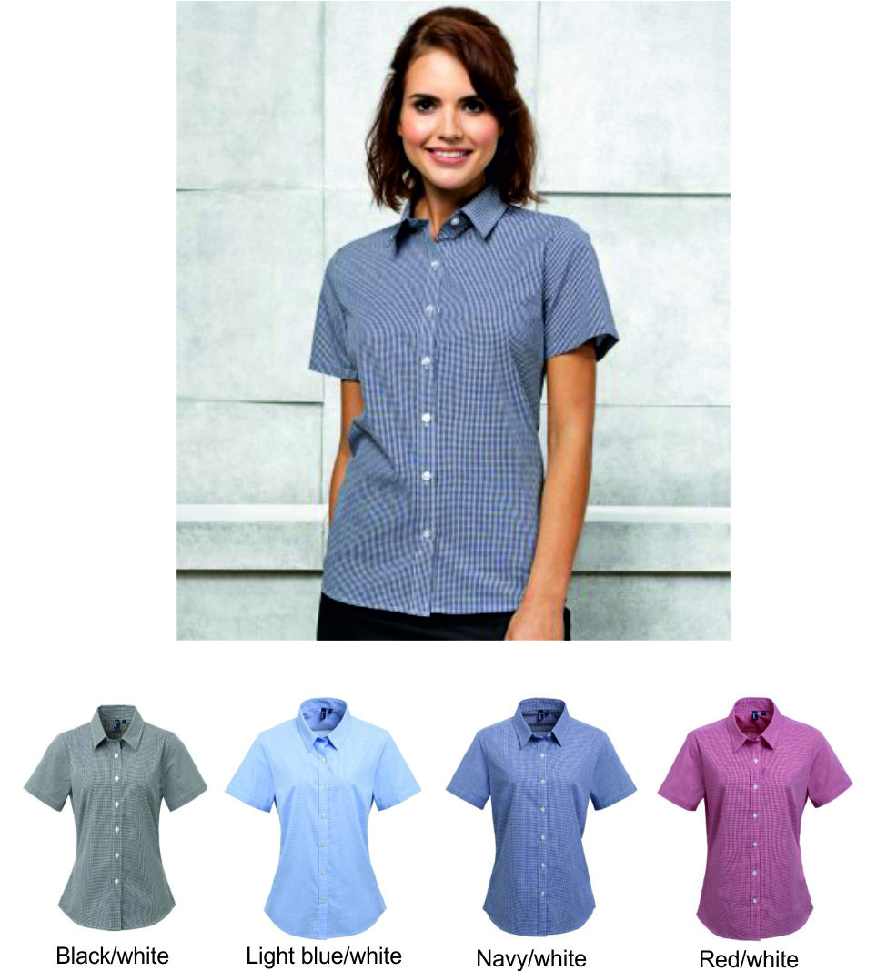 Premier PR321 Ladies Microcheck Short Sleeve Blouse