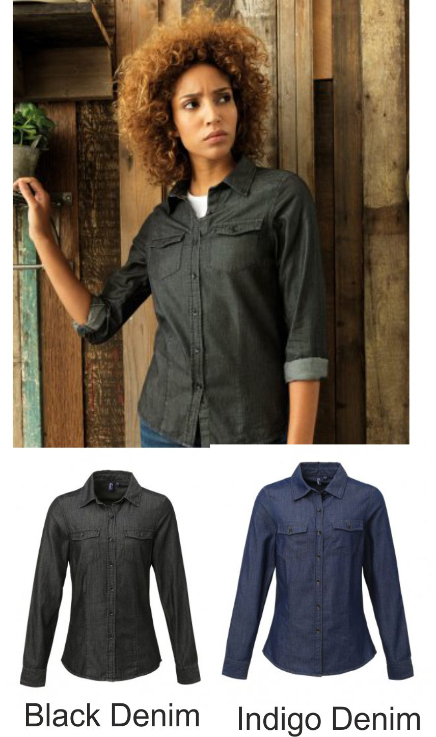 Premier PR322 Ladies Jean Stitch Denim Shirt