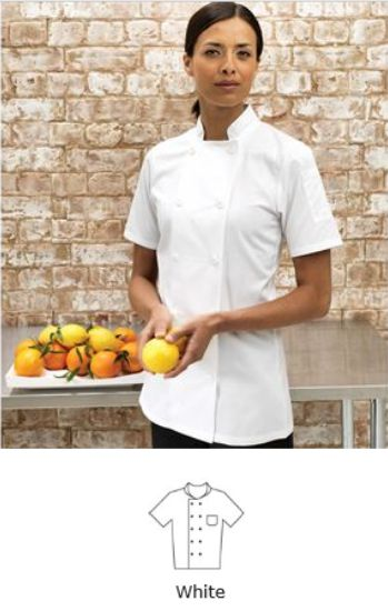 Premier PR670 Ladies Short Sleeve Chefs Jacket