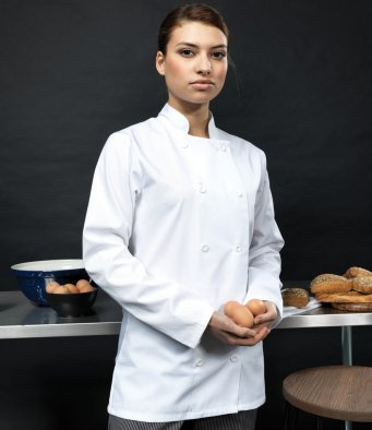 Premier PR671 Ladies Long Sleeve Chef's Jacket