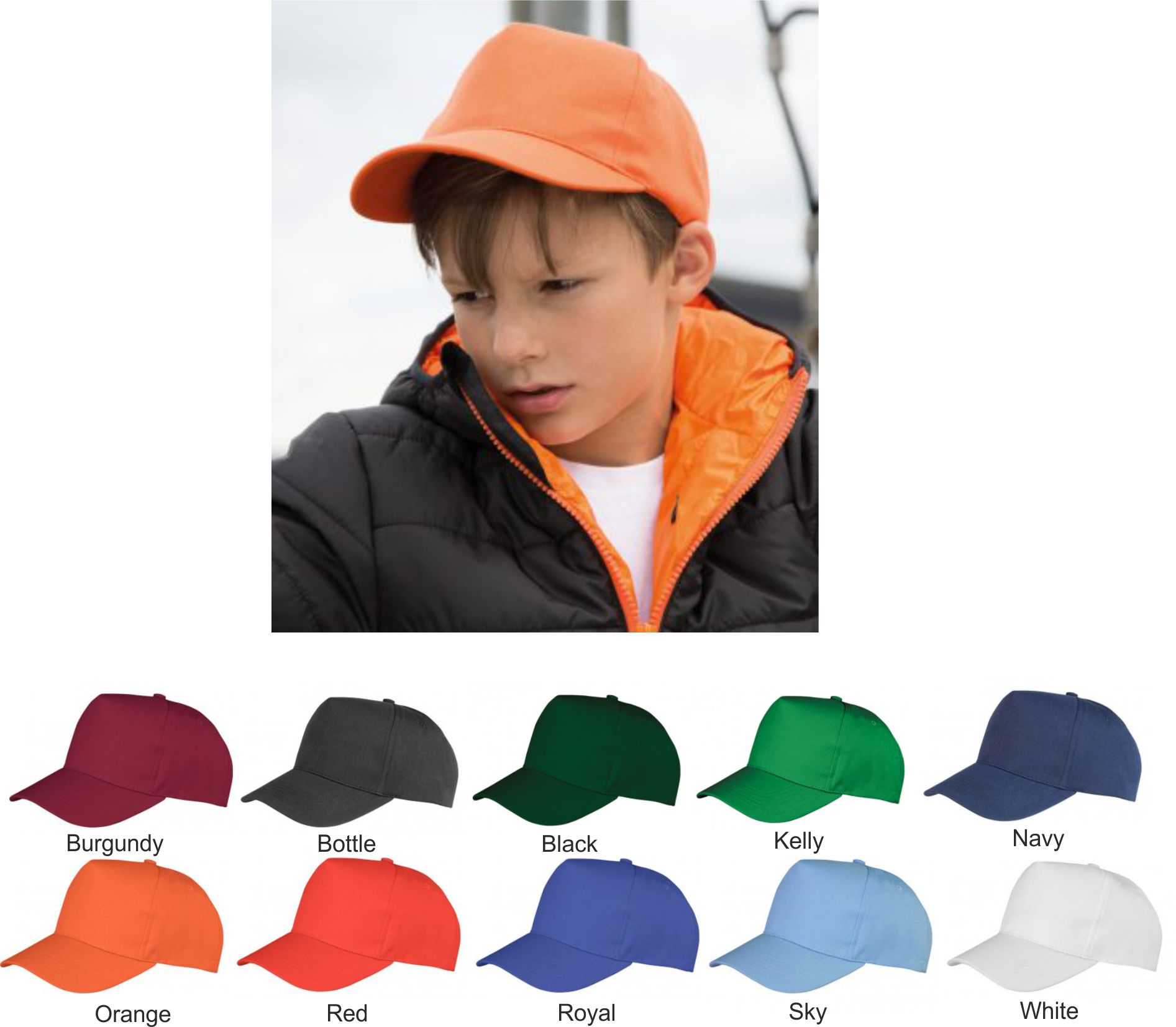 Result RC084B Kids Boston 5 Panel Printers Cap