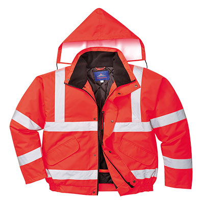 S463 red bomber style traffic jacket