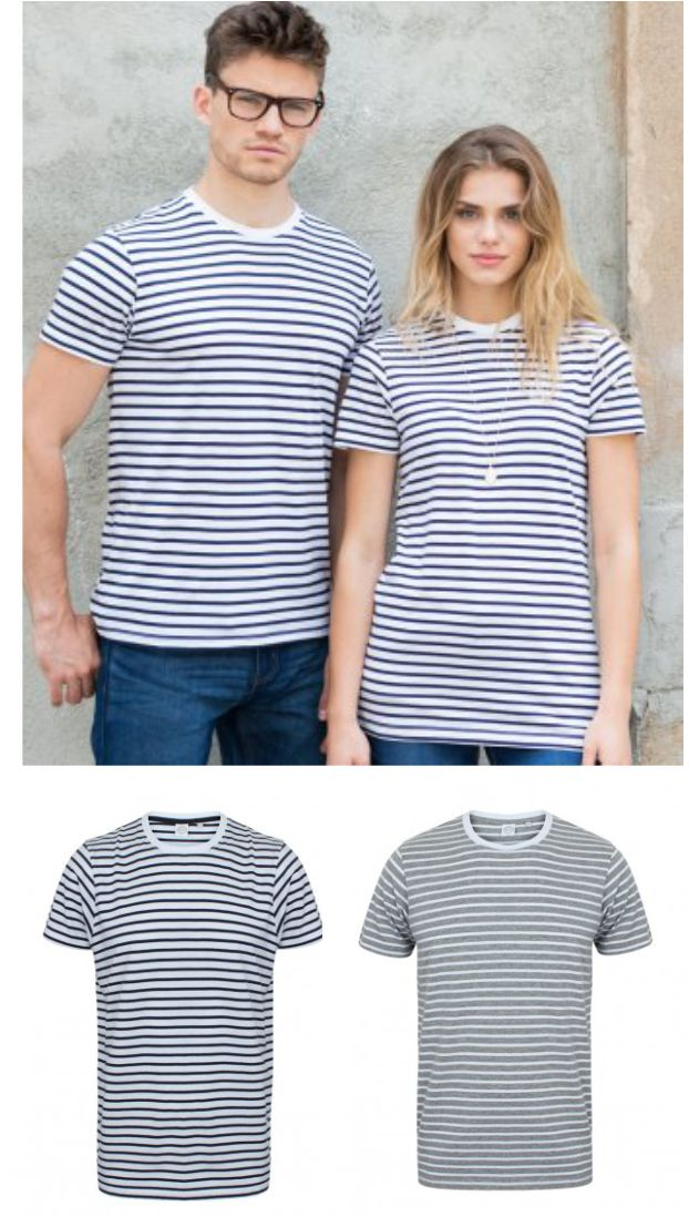 SF SF202 Unisex Striped Tee Shirt