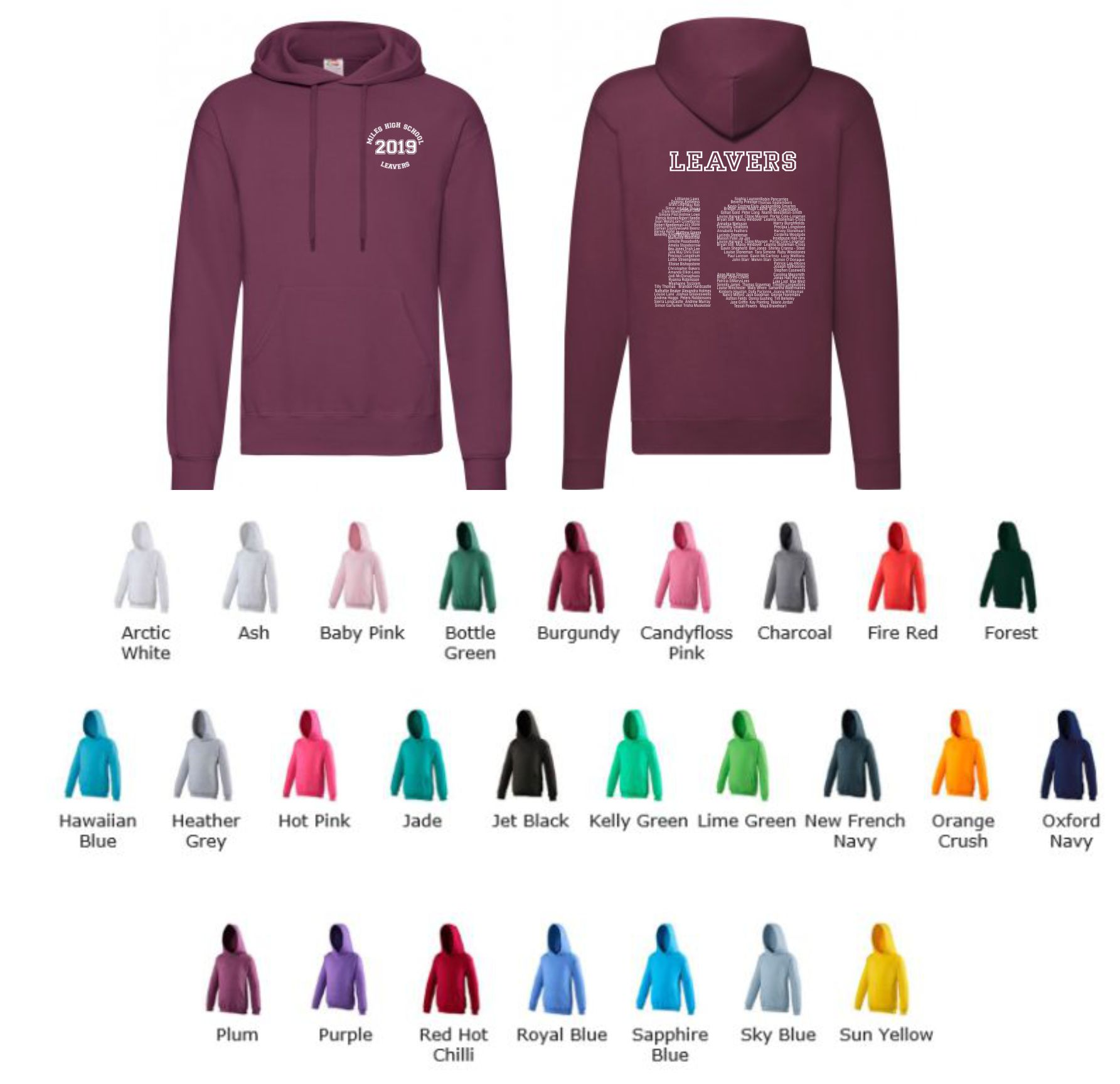 School Leavers JH001b Junior slipover Hoody Style 3